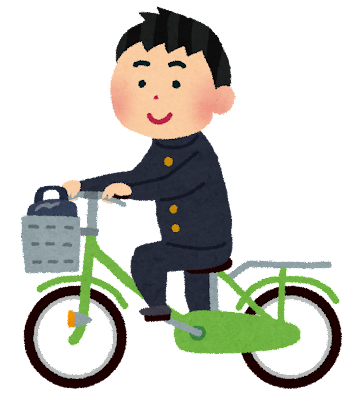 自転車通学のイラスト(男子 ...