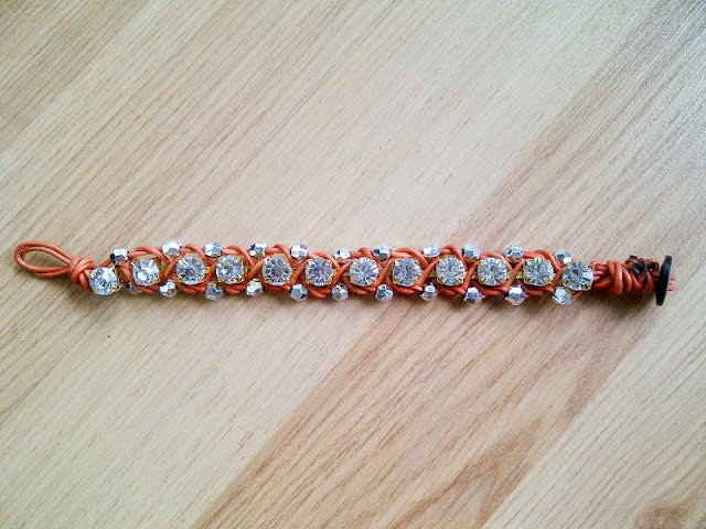 image tutorial roundup diy bracelet rhinestone beaded leather cord