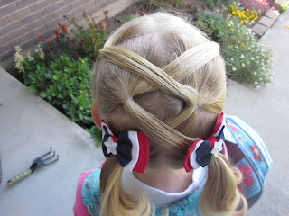 "hair style for a little girl: ""x"" marks the spot"