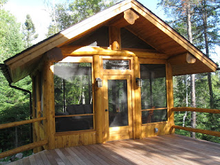 Log cedar screenhouse gazebo huisman concepts lake home ely