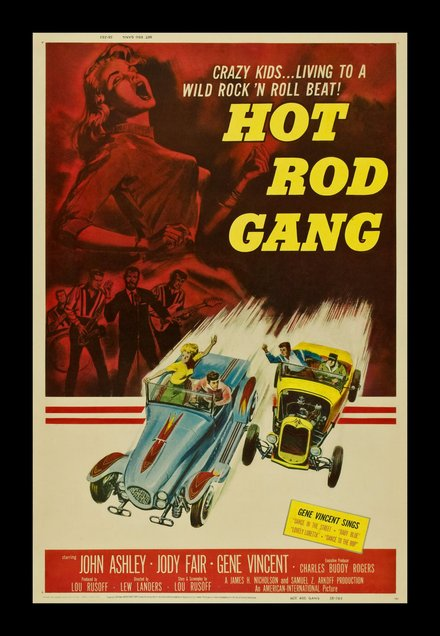 free printable, printable, classic posters, free download, graphic design, movies, retro prints, theater, vintage, vintage posters, Hot Rod Gang, Crazy Kids Living to a Wild Rock 'n Roll Beat - Vintage Movie Poster