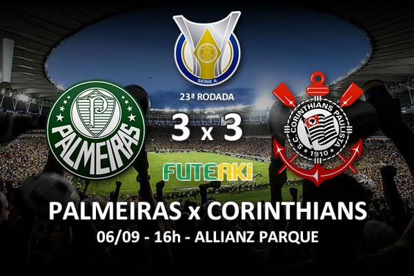 Veja o resumo da partida com os gols e os melhores momentos de Palmeiras 3x3 Corinthians pela 23ª rodada do Brasileirão 2015.