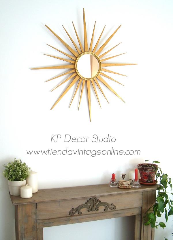 Espejos vintage tipo sol con rayos dorados de madera