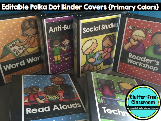 Editable Cookbook Cover : Clutter free classroom using binders to get ready go