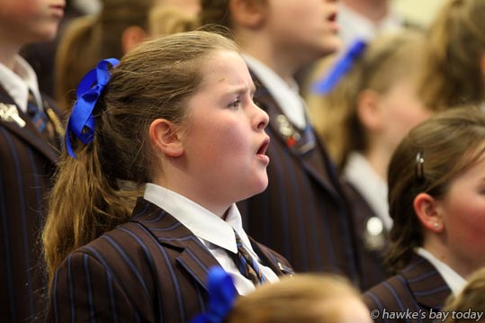 The Iona Intermediate Choir, performing at The Kids Sing Primary and Intermediate Schools Choir Festival, organised by New Zealand Choral Foundation, at Heretaunga Intermediate School, Hastings. photograph