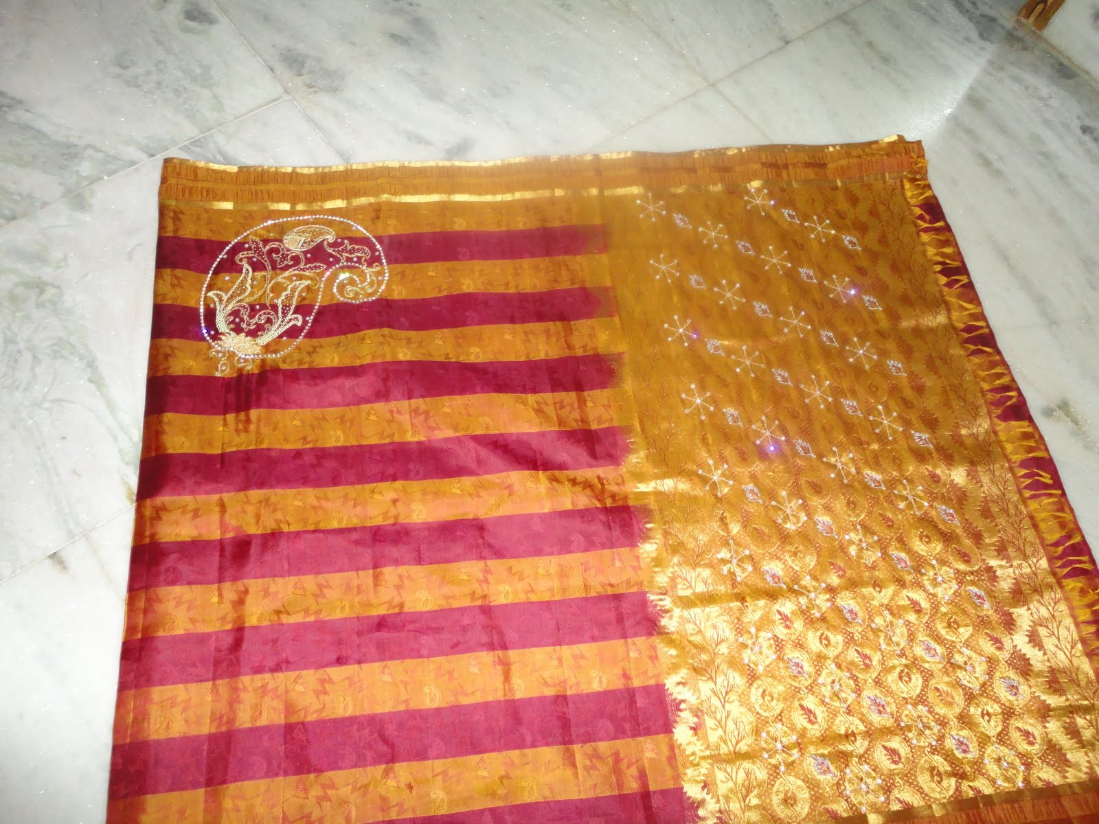 Aari zardosi beads embroidery saree designed for single fleet