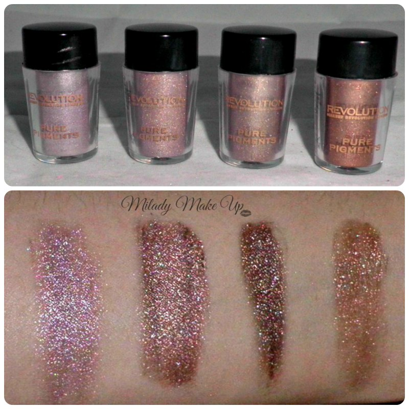 Makeup Revolution Pigment swatches Allure Etiquette Agonise Grandeur
