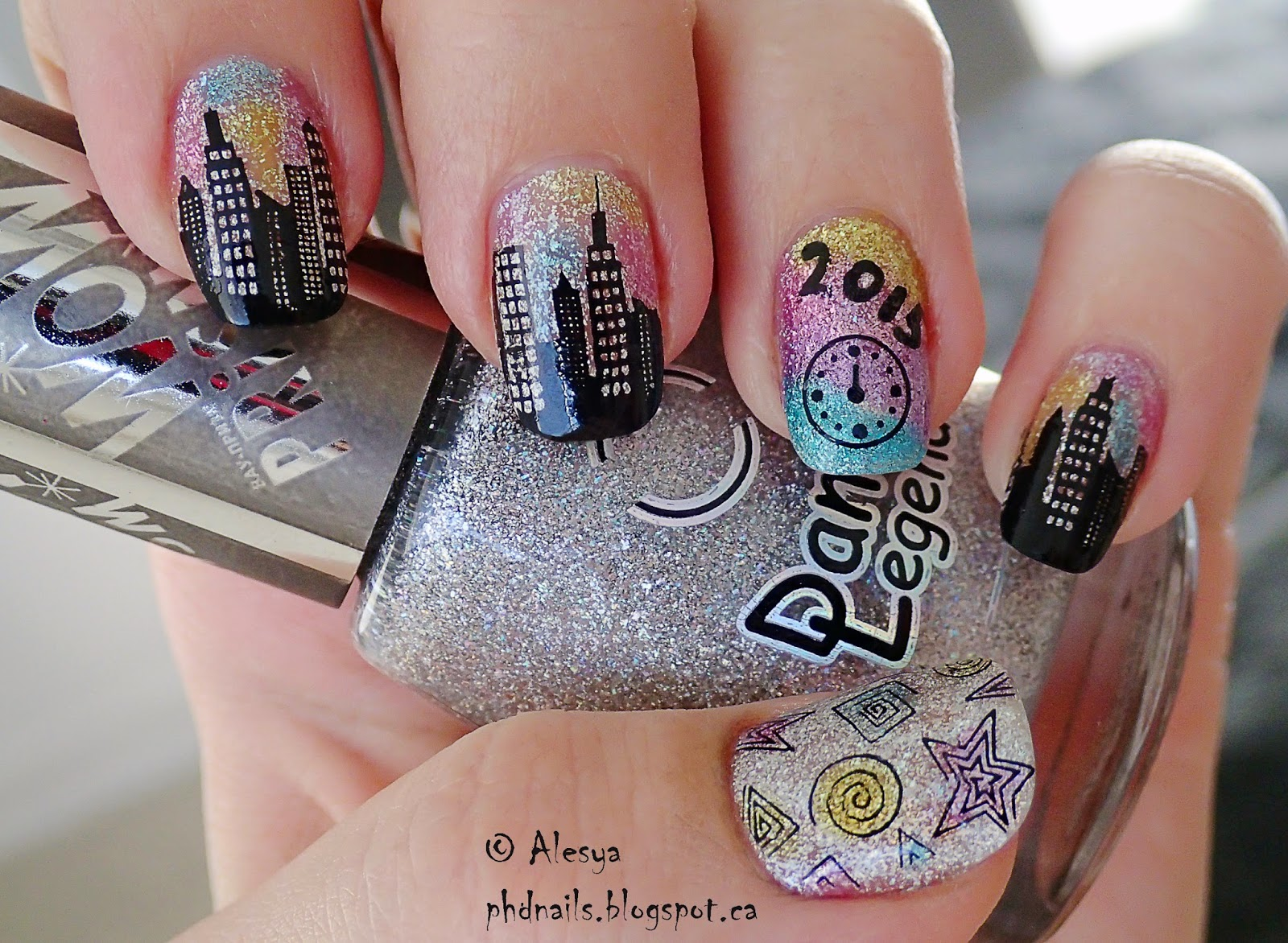 Phd nails winter nail art challenge new years eve winter nail art challenge new years eve prinsesfo Images