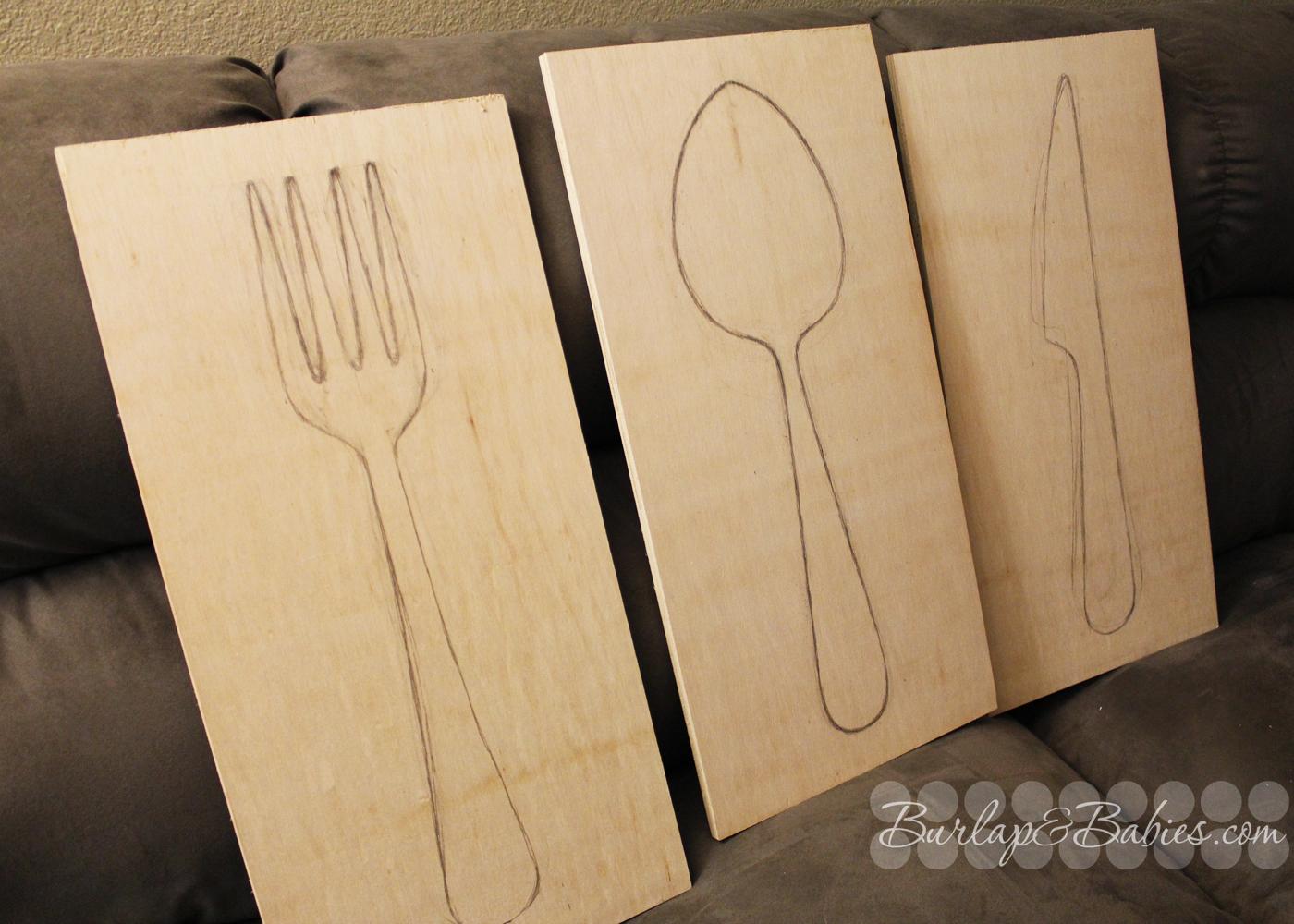 Giant utensil wall art burlap and babies for Dining room utensils