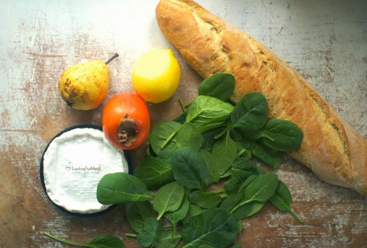 camembert, kaki, szpinak, gruszka, cytryna
