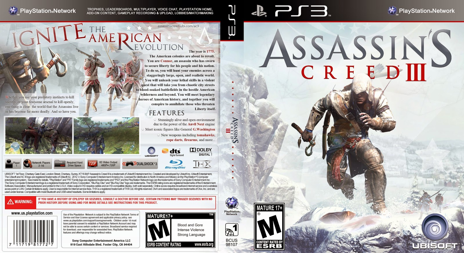 Capa Assassins Creed III PS3