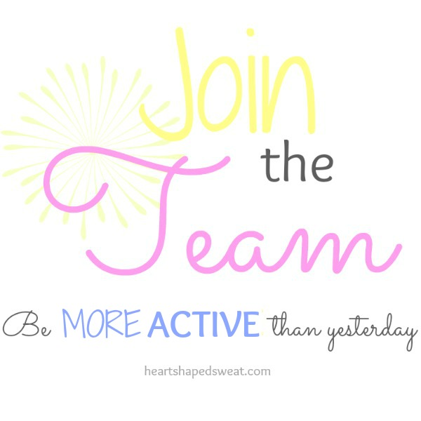 be more active, join the team, heart shaped sweat
