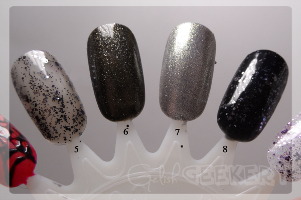 Gelish Trends Concrete Couture Swatch. 5. Concrete Couture; 6. The Naughty List; 7. Showstopping; 8. Black Shadow & Concrete Couture