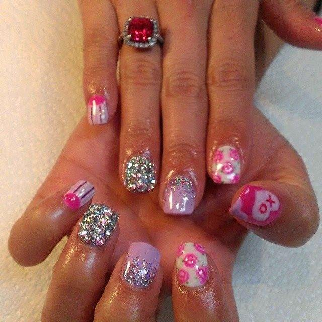 LED polish manicure glitz acrylics stones stamping acrylics LED polish bur-berry classic pink and white Frenchies with LED polish top off acrylics LED polish nail art glitz and stone feats colorful stripey rose design