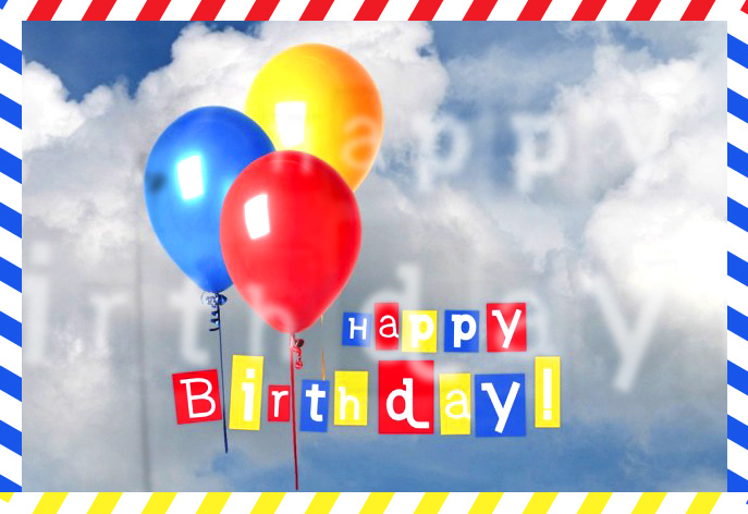 Birthday Postcards: Happy Birthday Clouds Colorful Balloons Postcard