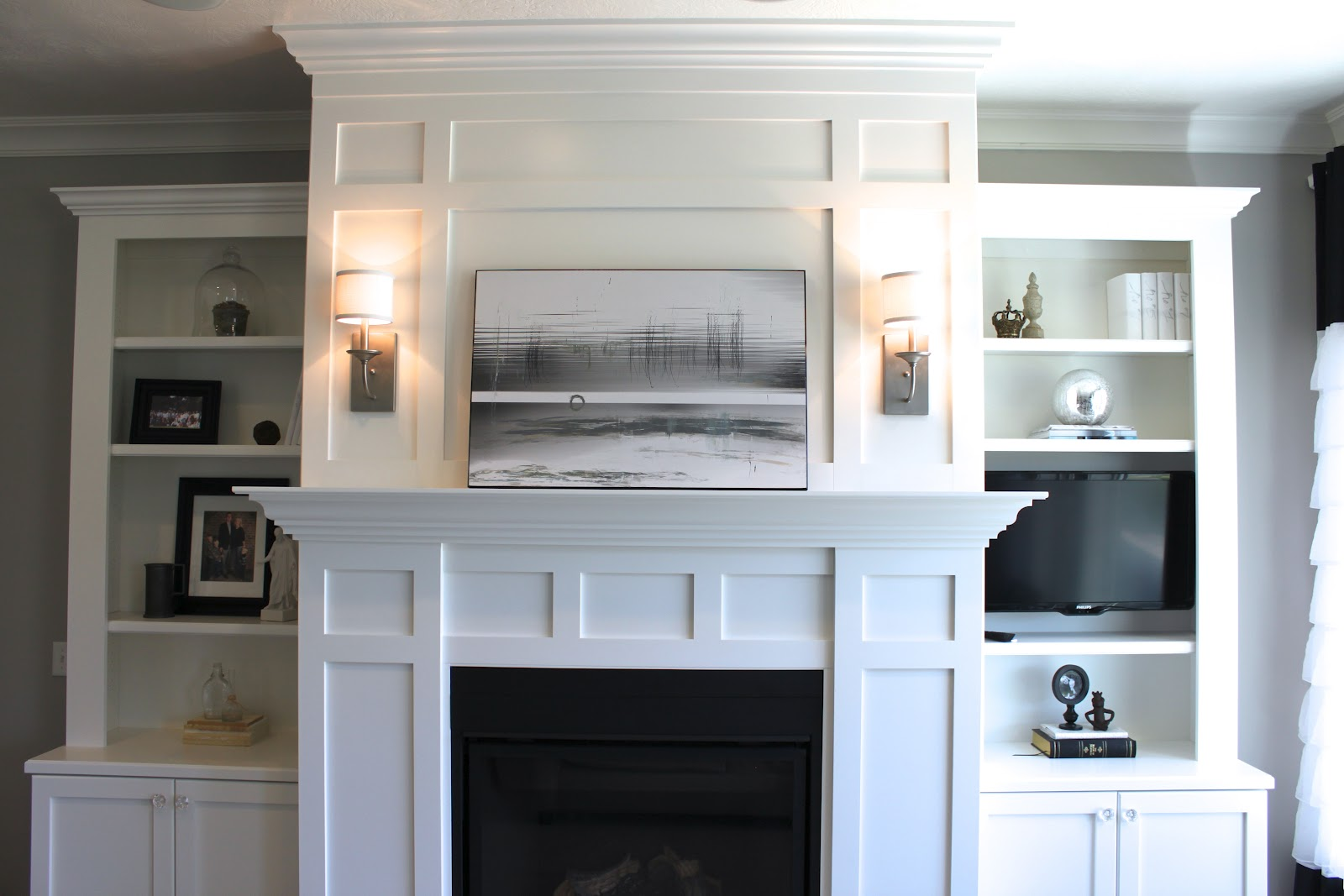 with stock shelves photo stone white book picture wall on fireplace