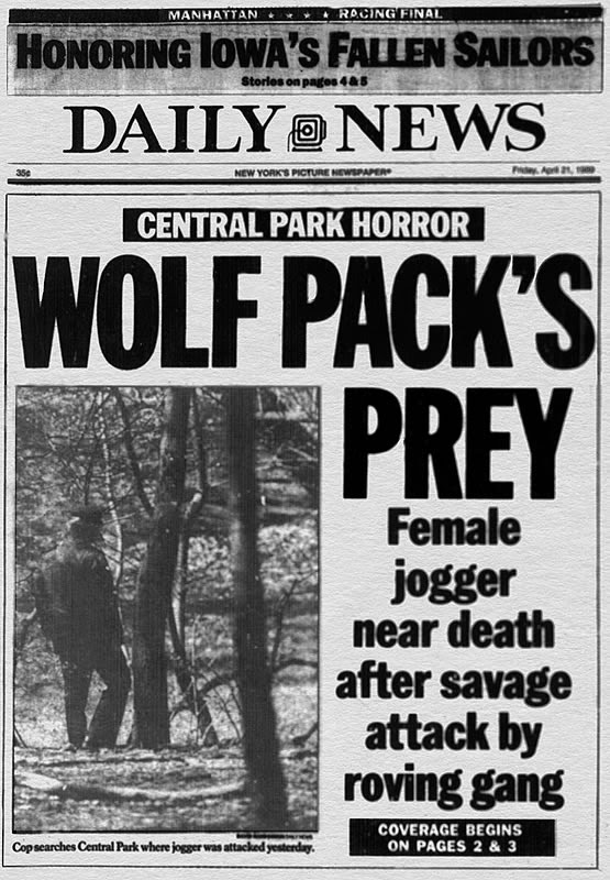 Daily News Cover Page following Central Park Jogger Attack