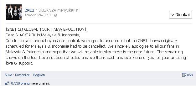2NE1 Batalkan Tur Di Indonesia & Malaysia