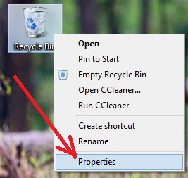 right click on recycle bin