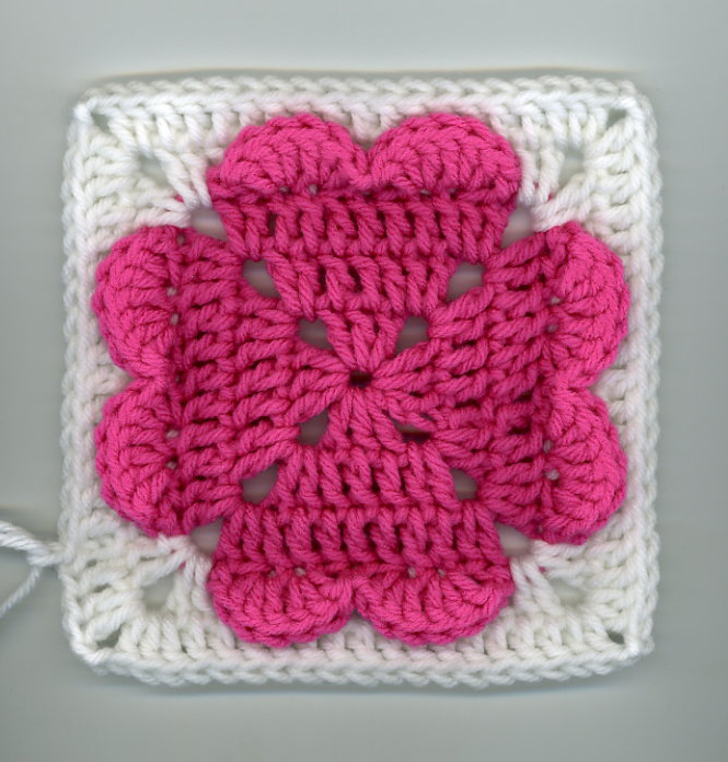 Crochet Granny Square Heart Patterns : Dlys Hooks and Yarns ~: ~ 4-hearts square (ice cream ...
