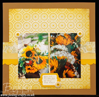 Sunflower Scrapbook Page featuring the Afternoon Picnic Designer Papers from Stampin' Up! Check this blog each Saturday for a new Scrapbook Page