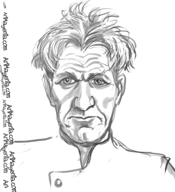 Gordon Ramsay caricature cartoon. Portrait drawing by caricaturist Artmagenta.