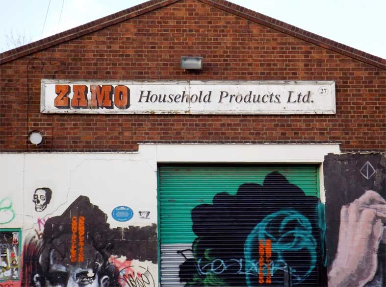 zamo cleaning products sign hackney wick london