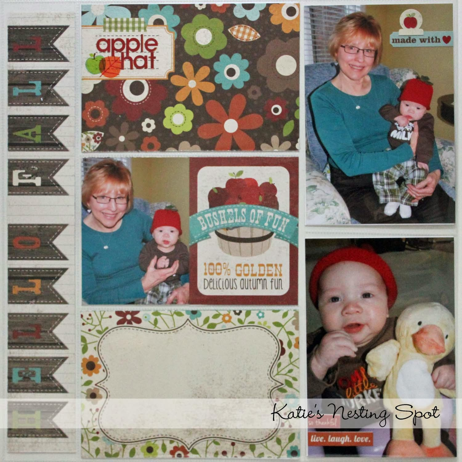 How to scrapbook faster - This First Page Is About The Apple Hat My Mom Knitted And That Both Kids Have Worn It S So Cute Journaling Has Been Added To The Empty Card