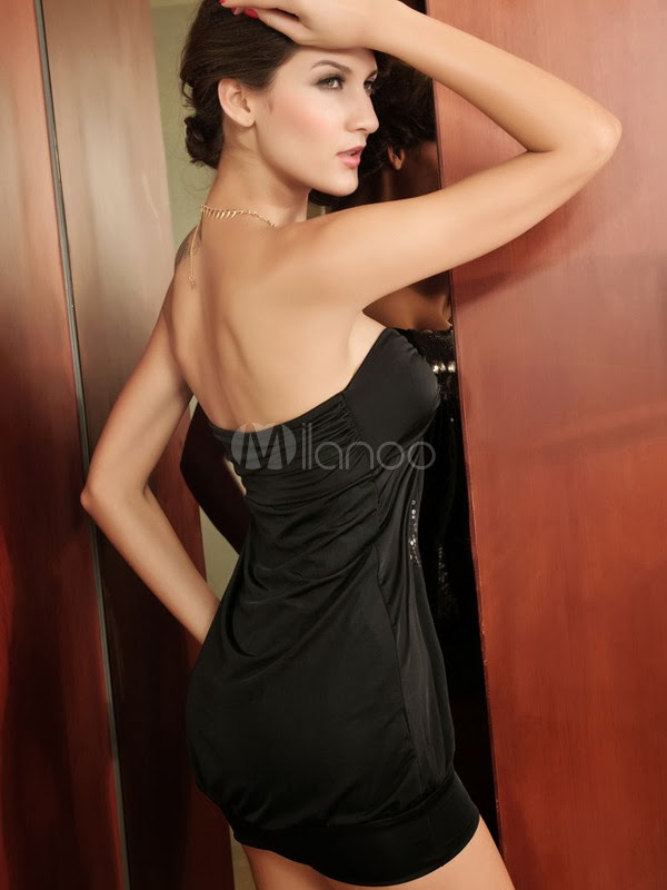 China Wholesale Clothes - Magical Bandeau Black Mini Dress With Sequins
