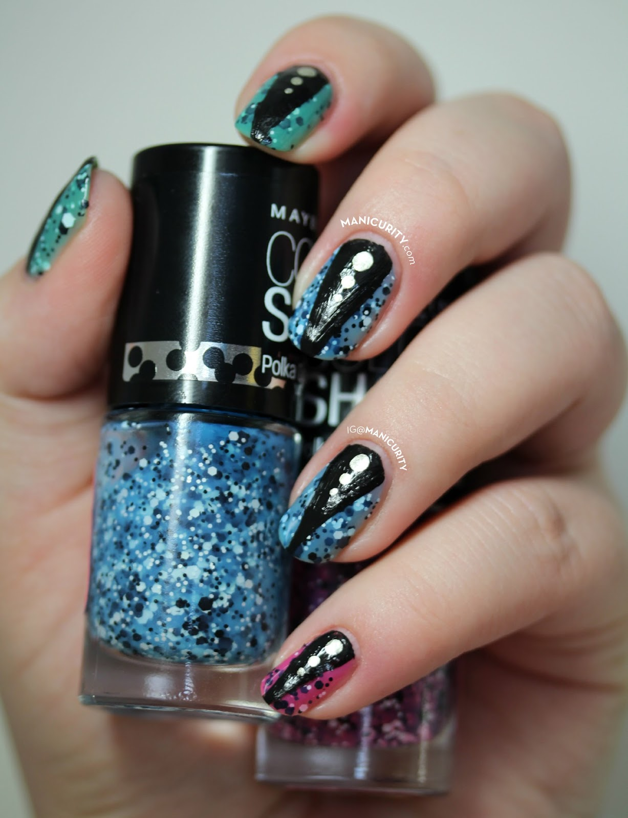 The Digit-al Dozen: Maybelline Color Show Polka Dots Dressed Up in Leather + Studs Nails - triangle half moon nail art | Manicurity
