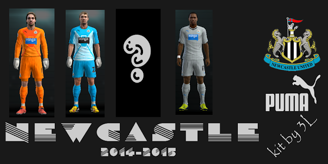 PES 2013 kit set New Castle uniformes 2014/2015