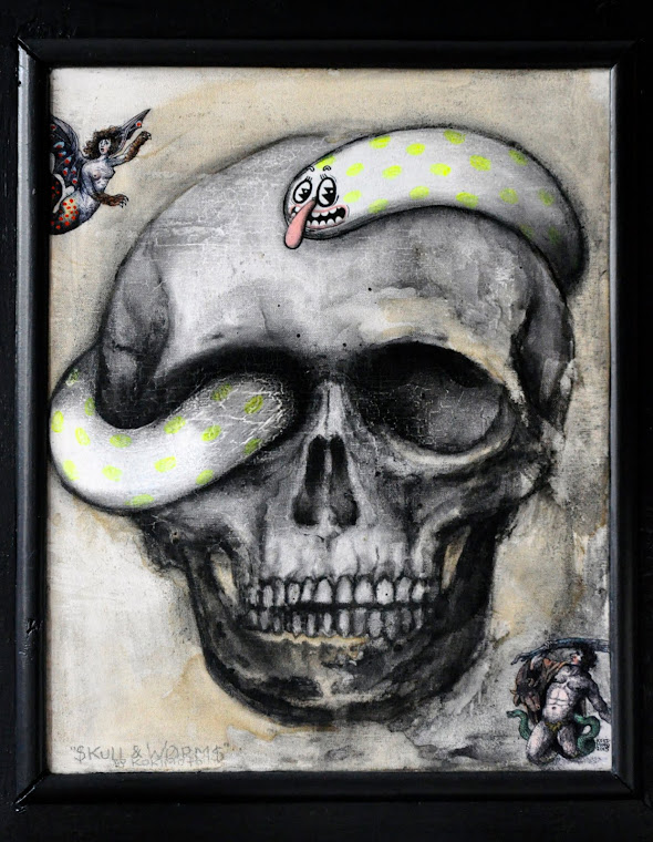 Skull and Worms II, 2015. Acrylic, charcoal, ink and coffee on canvas, 60x40 cm. Private collection