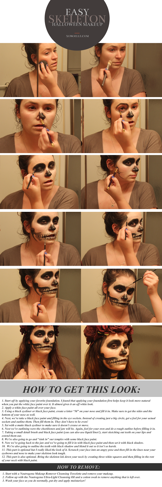 XO, Noelle: #HallowCleanFaceOff | Skeleton Halloween Makeup Look ...