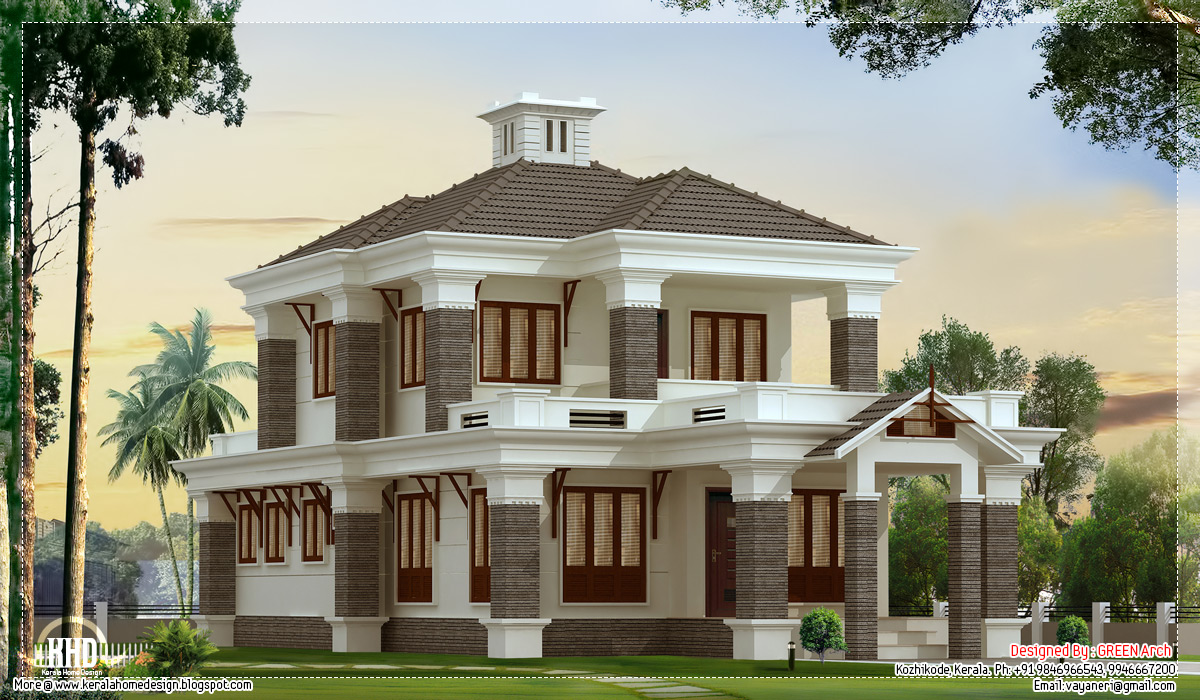 4 bedroom nice villa elevation kerala home design and for Nice house design