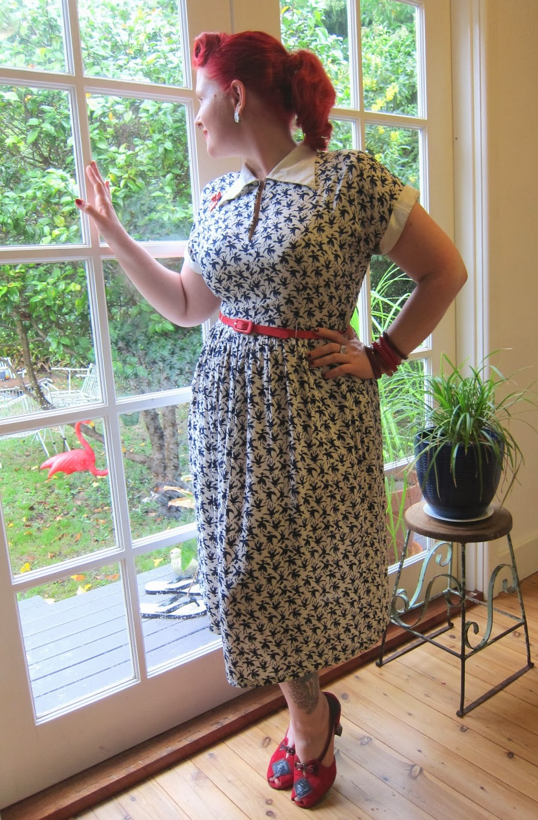 1940s rayon novelty crepe dress miss l fire milded review plus size