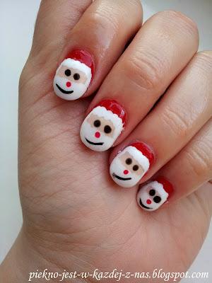 Mikołaj na paznokciach, zdobienie świąteczne