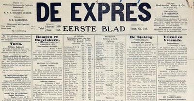 penampakan surat kabar De Expres yang diredakturi oleh E.F.E Douwes Dekker