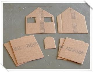 Manitas casitas de cart n y tela - Como hacer una casa de carton pequena ...