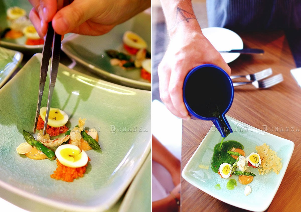 Chilled Asparagus Velouté with textured beef tendon, quail egg and romesco sauce