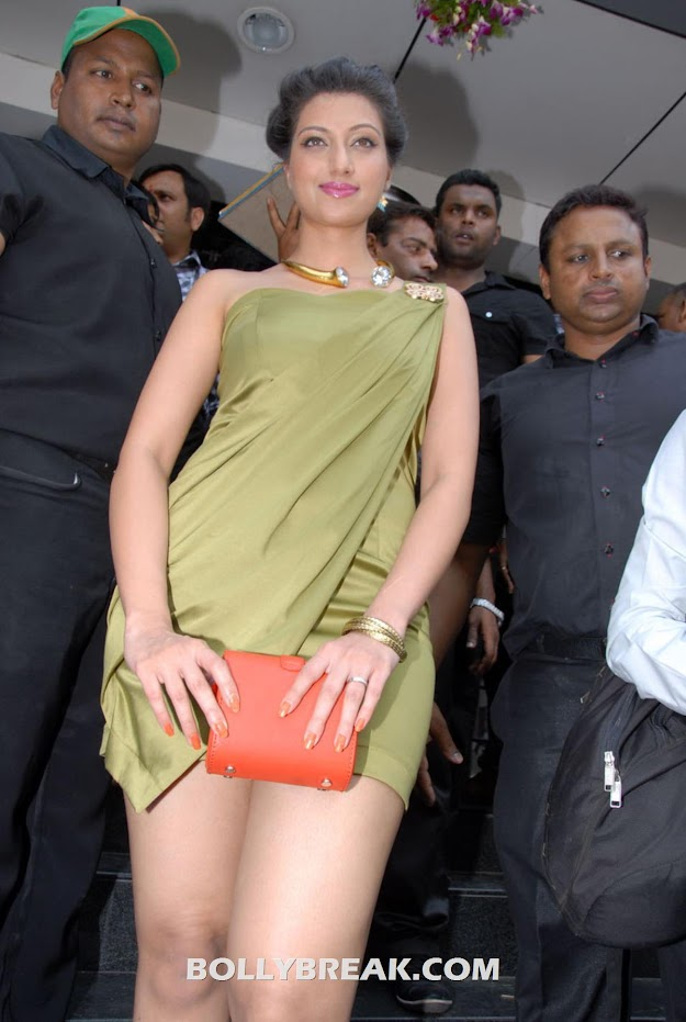 Hamsa Nandini hiding her legs with purse - Hamsa Nandini Hot Leg Show at event