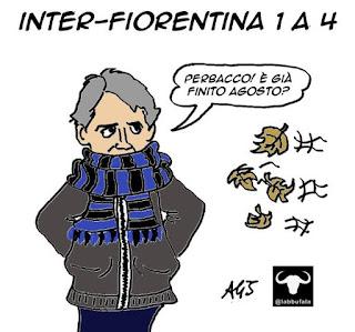 mancini, inter, campionato d'agosto, fiorentina, sport, calcio, umorismo, vignetta