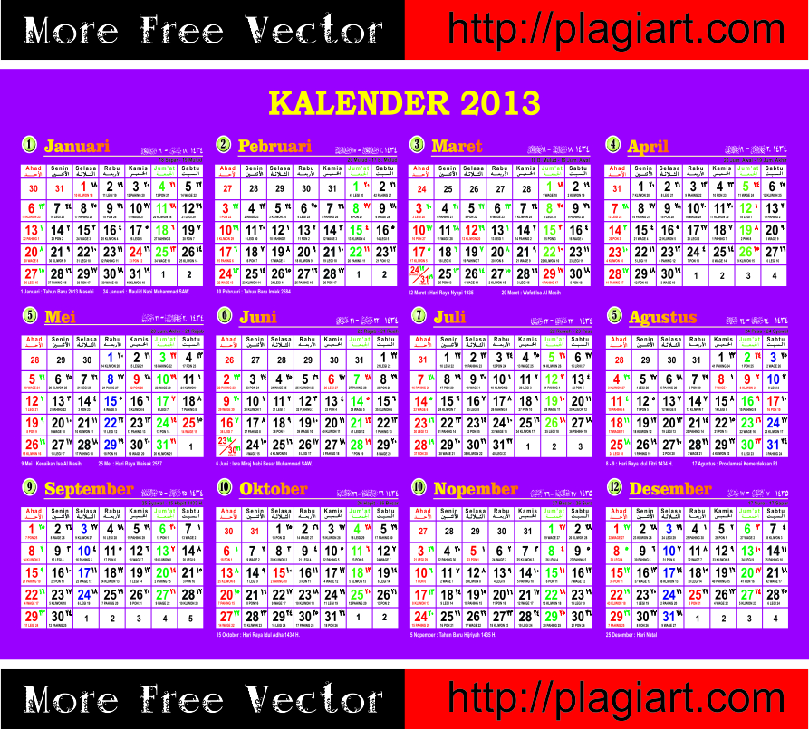 Free Download Calendar 2013 more free vector visit http://plagiart.com