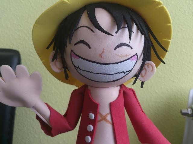 Detalle de la cara de Luffy