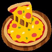 ピザのイラスト「トマトとサラミのピザ」