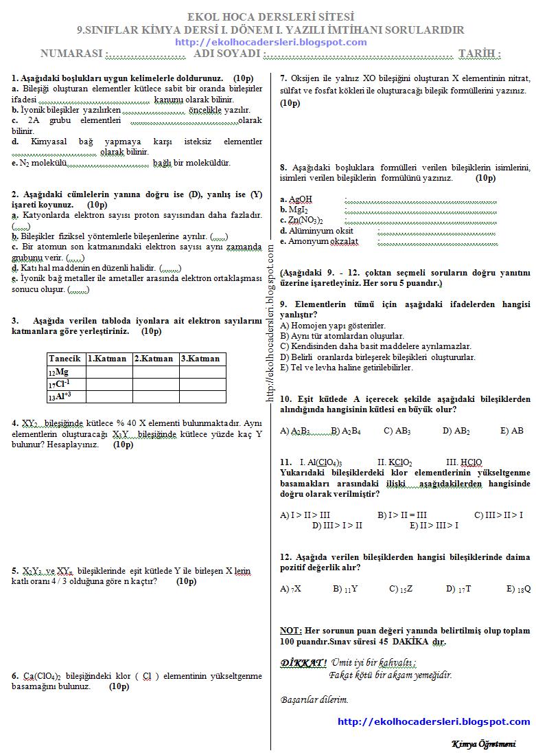 Sınıf kimya 1 dönem 1 yazılı soruları