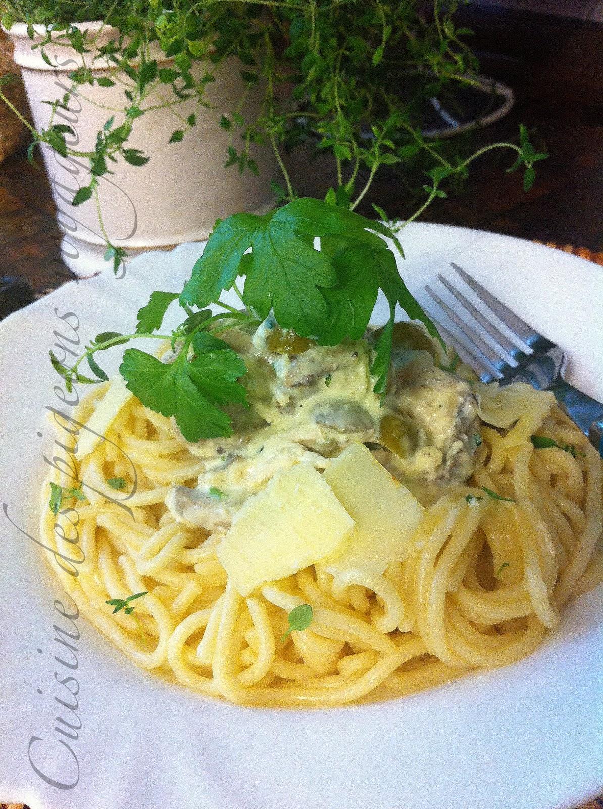 C hier de recettes des pigeons voyageurs spaghettis au poulet olives et champignons ou - Comment cuisiner un reste de poulet ...