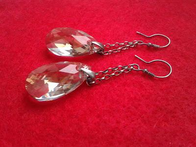 kolczyki z kryształami Swarovskiego w oksydowanym srebrze