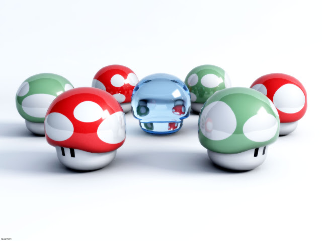1up mario mushroom red green 3d