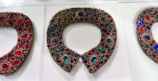 Beaded crystal collars from Chicago designer Azeeza Khan.