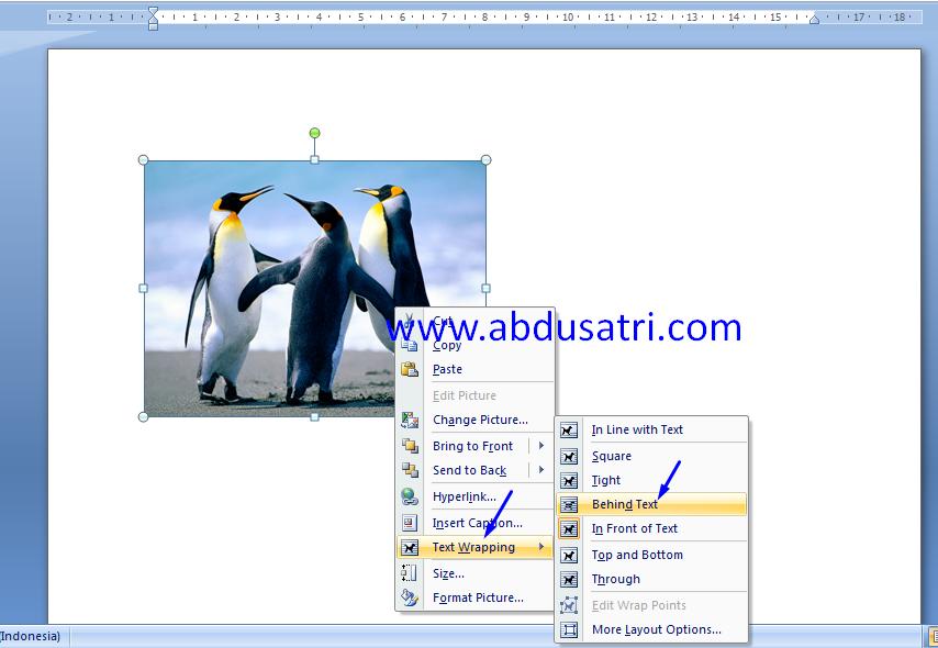 cara memindahkan gambar di word 2007